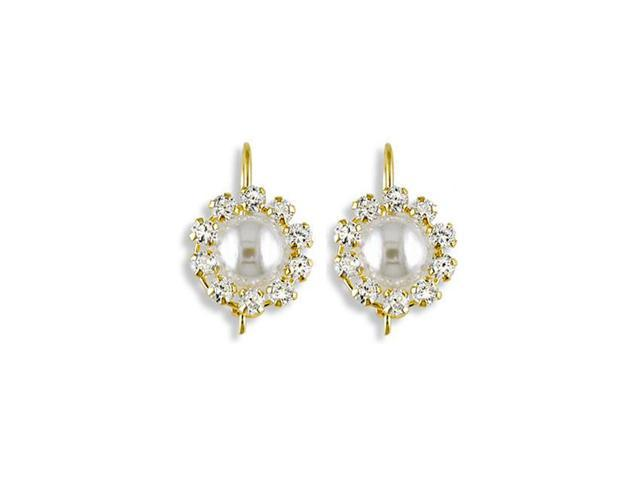 14k Yellow Gold CZ White Pearl French Wire Earrings