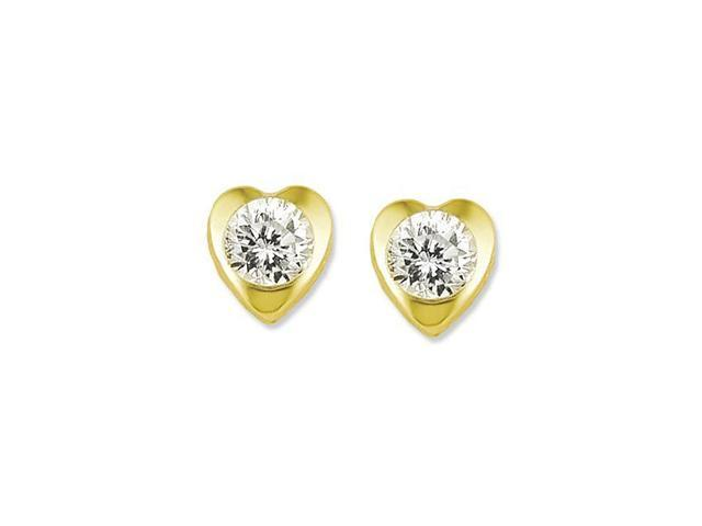 14k Yellow Gold Round CZ Solitaire Heart Stud Earrings