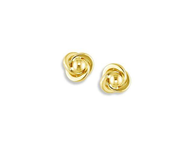 Solid 14k Yellow Gold Swirl Ball Polished Stud Earrings