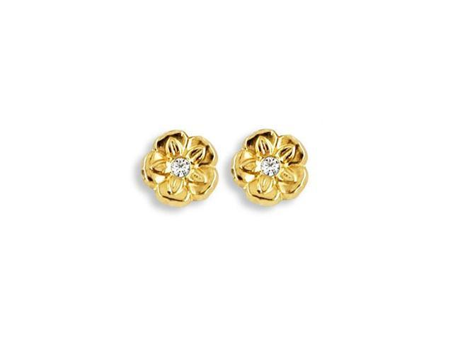 Solid 14k Yellow Gold Polished Flower CZ Stud Earrings