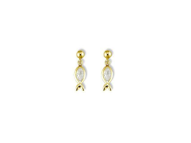 Solid 14k Yellow Gold Marquise CZ Fish Dangle Earrings