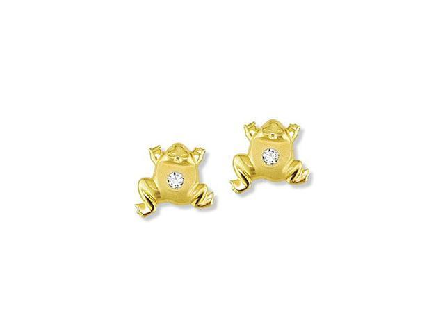 Solid 14k Yellow Gold Frog Toad Round CZ Stud Earrings