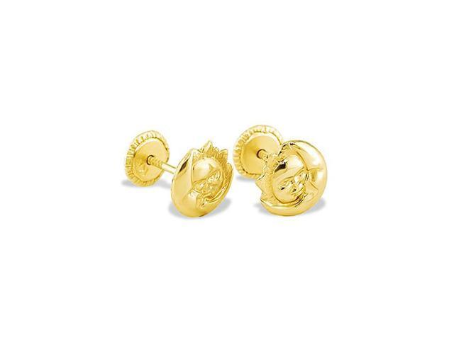 Solid 14k Yellow Gold Puffy Sun Moon Stud Earrings