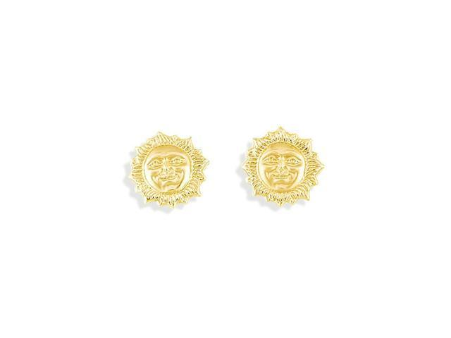 Solid 14k Yellow Gold 3D Puffy Sun Charm Stud Earrings