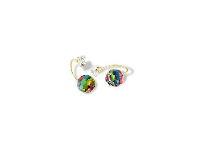 14k Solid Gold Multicolor Rainbow CZ Ball Stud Earrings