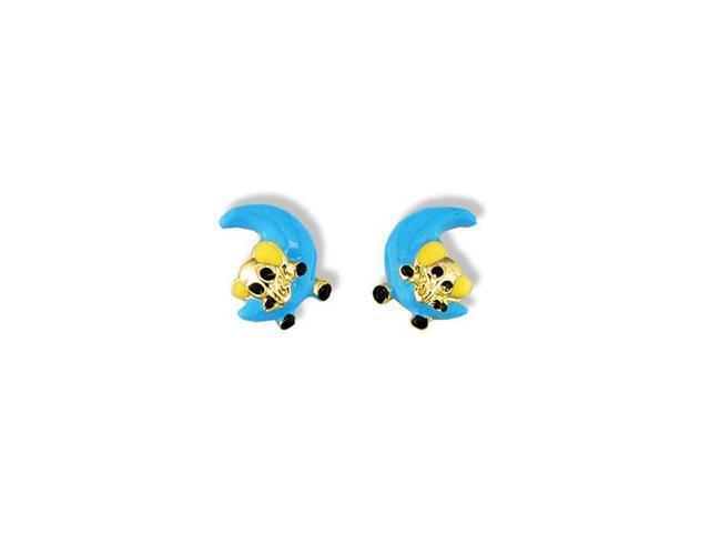 14k Yellow Gold Enamel Elephant Blue Moon Stud Earrings