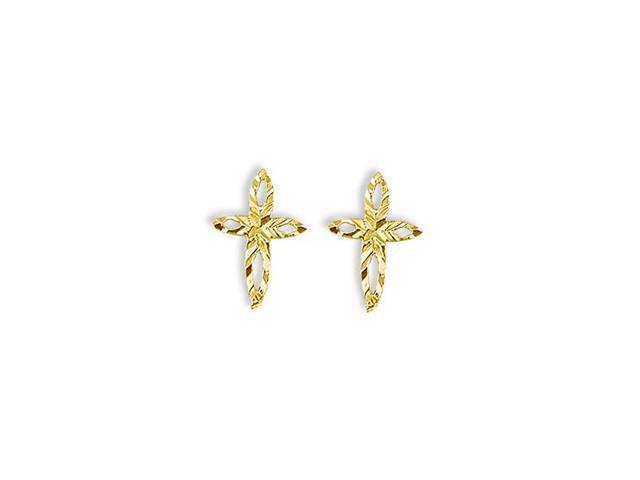 14k Yellow Gold Diamond Cut Open Cross Stud Earrings