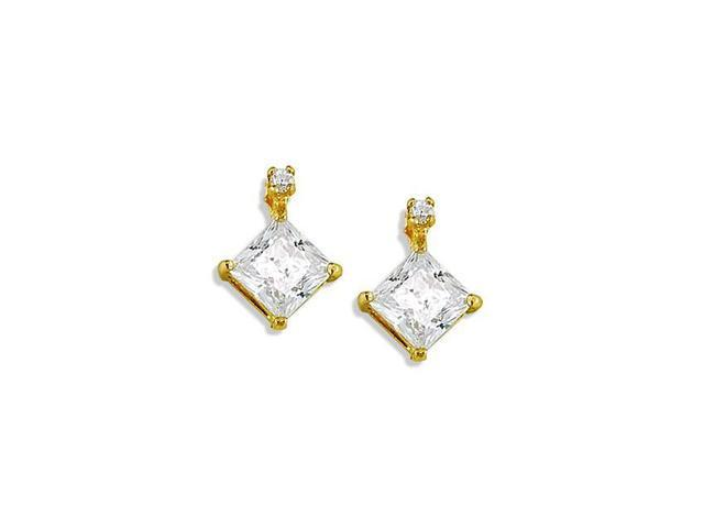 14k Yellow Gold Solid Princess Round CZ Stud Earrings