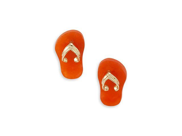 Solid 14k Gold Sandal Thongs Red Agate Stud Earrings