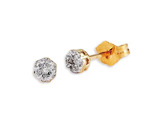 New 14k Yellow Gold Round Cut Diamond Studs Earrings