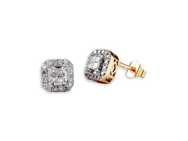 14k Yellow Gold Princess Round Diamond Studs Earrings