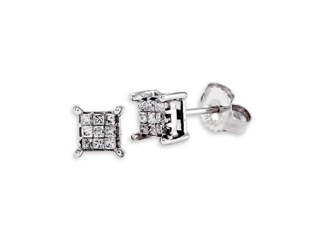 Prince Cut Diamond 14k Solid White Gold Studs Earrings