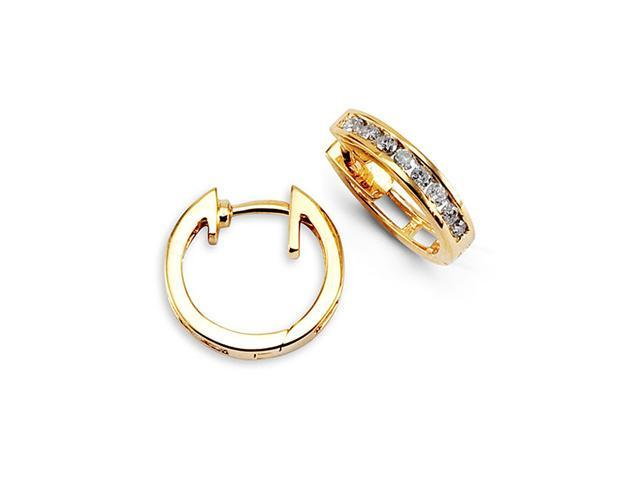 New Solid 14k Yellow Gold Round Diamond Hoops Earrings
