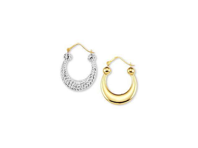 Solid Round 14k White Yellow Gold CZ Hoop Earrings