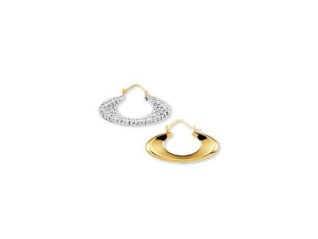 14k White Yellow Gold Round CZ Pave Oval Hoop Earrings
