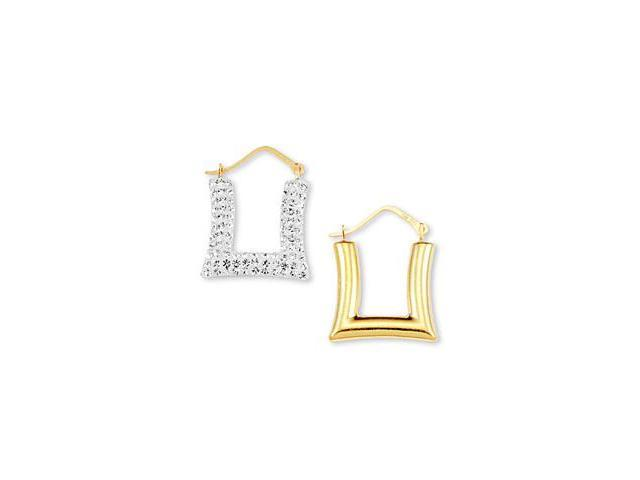 14k White Yellow Gold CZ Square Pave Hoop Earrings