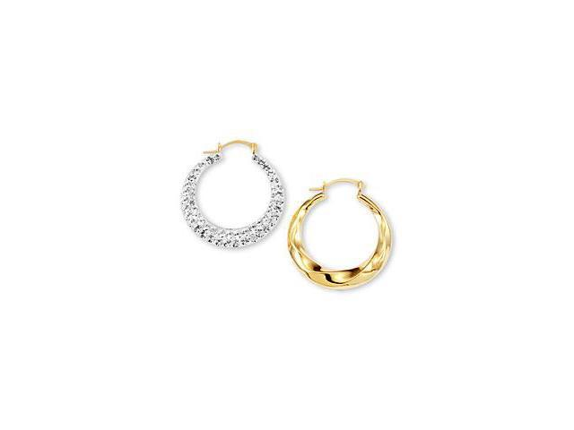 14k White Solid Gold CZ Pave Spiral Swirl Hoop Earrings
