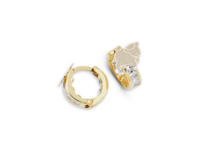 14k Two Tone Gold Sheep Princess Cut CZ Hoops Earrings