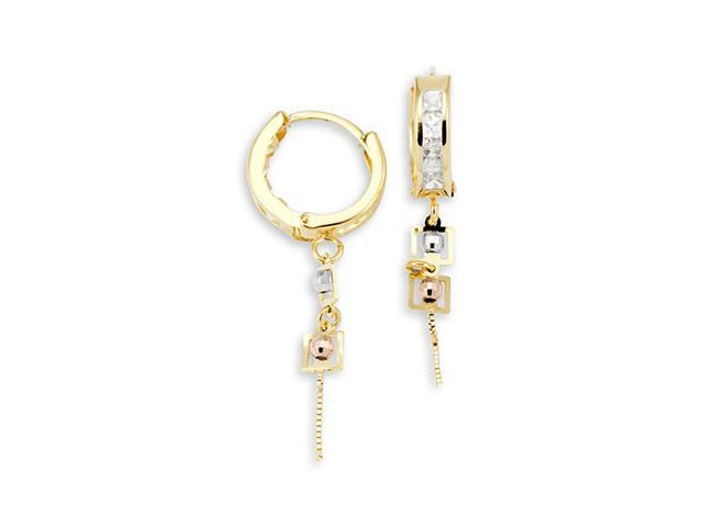 14k Tri-Color Gold Dangle Princess Cut CZ Hoop Earrings