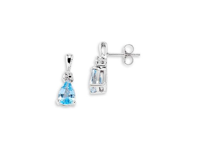 10k White Gold Pear Blue Topaz Round Diamond Earrings