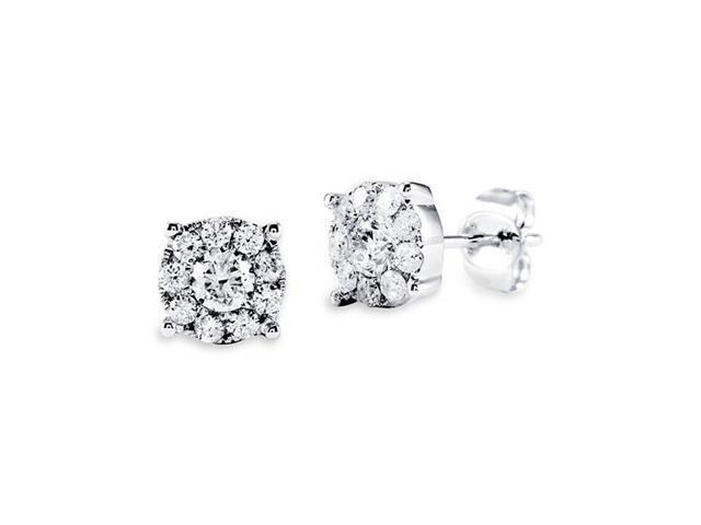 14k Solid White Gold Floral Round Diamond Stud Earrings