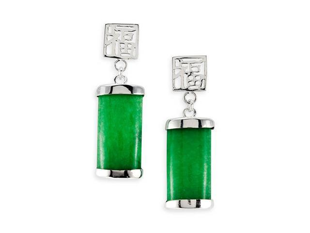 Sterling Silver Green Jade Chinese Long Dangle Earrings