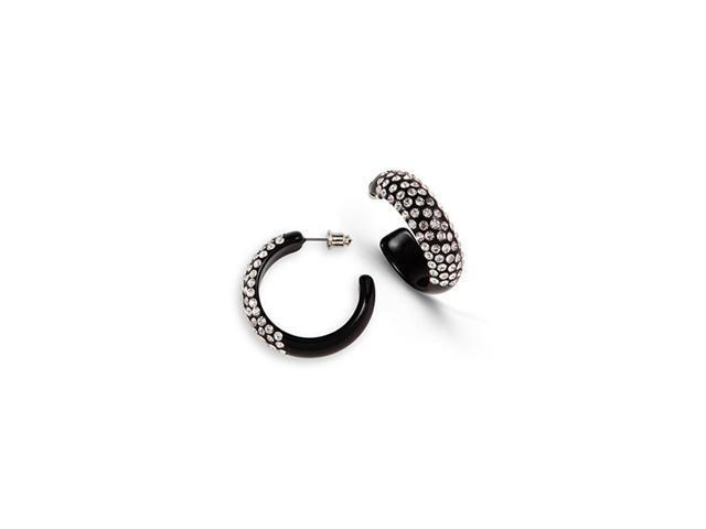 Black Solid White Swarovski Crystal Hoop Stud Earrings