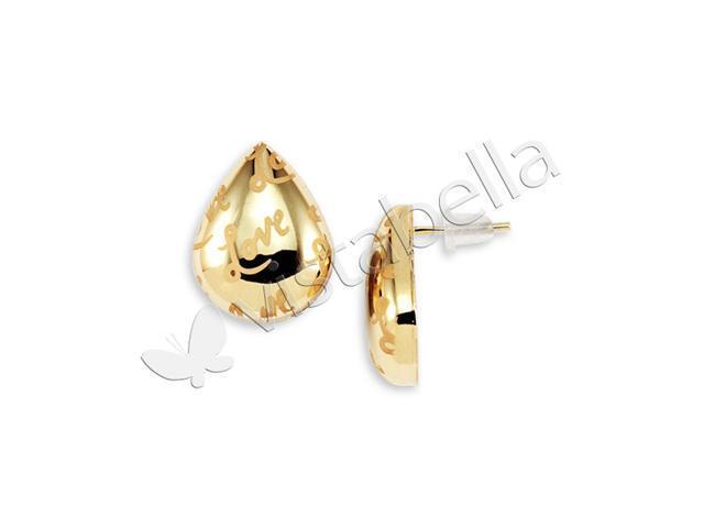 Polished Tear Drop 14k Gold Bonded Stud Love Earrings