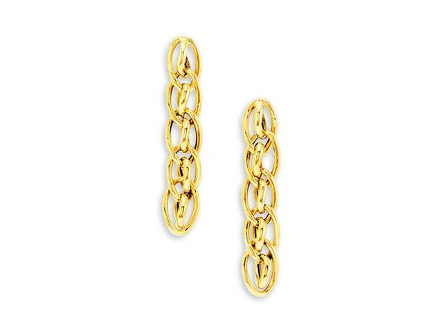 14k Bonded Gold Long Oval Circle Link Dangle Earrings
