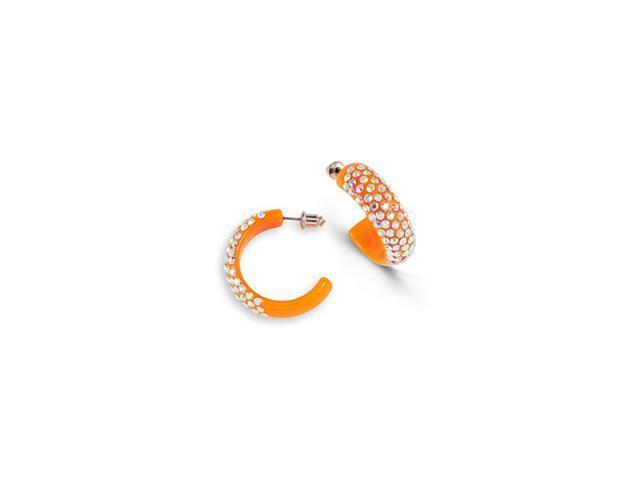 Rainbow Swarovski Crystal Orange Acrylic Hoop Earrings
