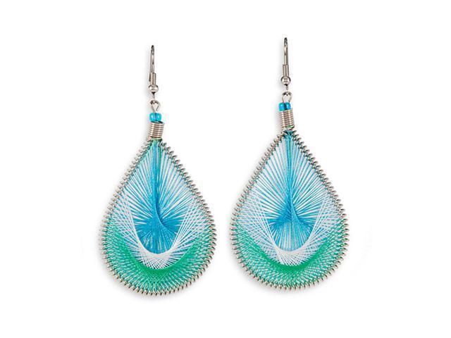 Blue Green White Silver Tone Teardrop Dangle Earrings