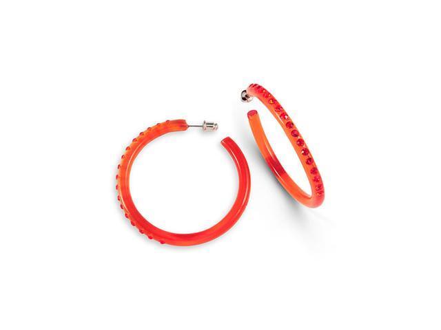 Polished Red Swarovski Crystal Solid Hoop Earrings