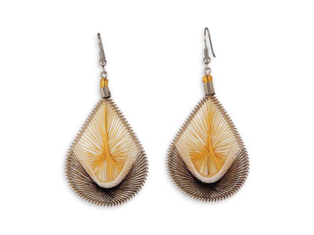 Gold Tan White Swirl Gold Tone Fashion Dangle Earrings