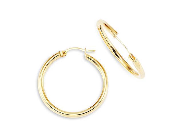"New Womens 14k Yellow Gold 1"" Round Hoop Earrings"