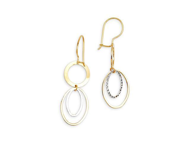 14k Yellow White Gold Round Oval Dangling Hoop Earrings
