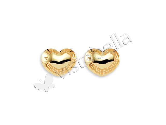 New 14k Gold Bonded Greek Key Heart Love Stud Earrings