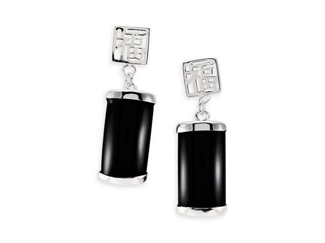 Sterling Silver Black Onyx Chinese Long Dangle Earrings
