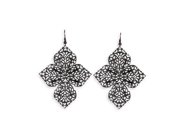 Black Silver Tone Leaf Scroll Wire Chandelier Earrings