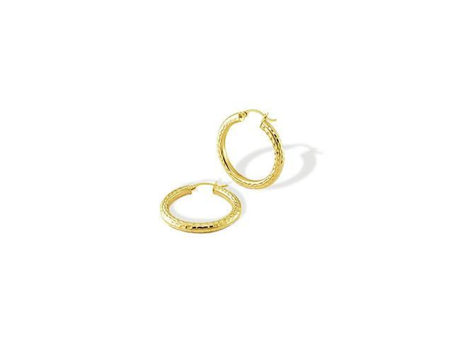 Solid 14k Yellow Gold Diamond Cut Round Hoop Earrings