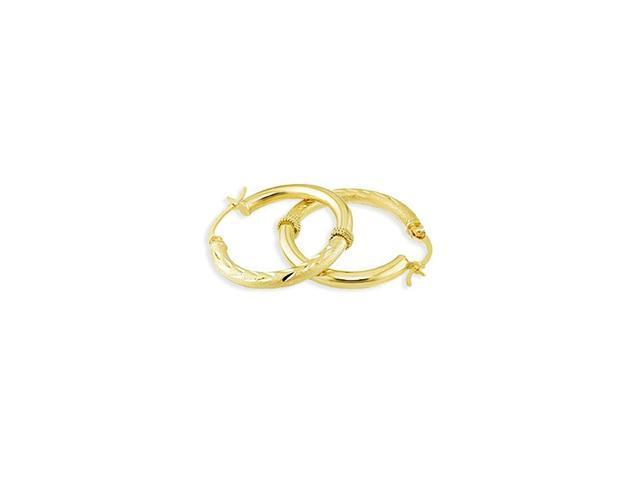 Solid 14k Gold Diamond Cut Satin Polished Hoop Earrings