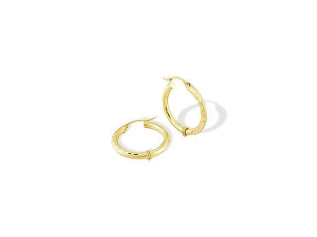 14k Solid Gold Polished Diamond Cut Satin Hoop Earrings