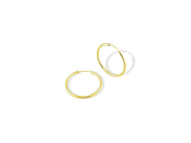 Solid 14k Yellow Gold Large Round Fashion Hoop Earrings