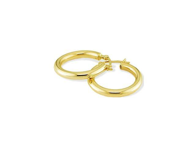 Solid 14k Yellow Gold Polished Fashion Hoop Earrings