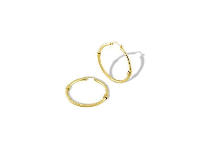 14k Yellow Gold Satin Polished Roman Leaf Hoop Earrings