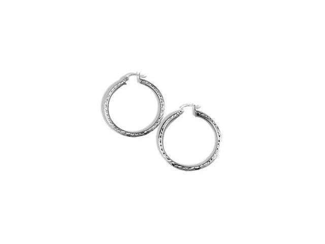 Solid 14k White Gold Diamond Cut Hoop Hinged Earrings