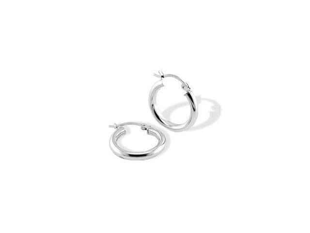 Solid 14k White Gold Polished Hoop Hinged Post Earrings