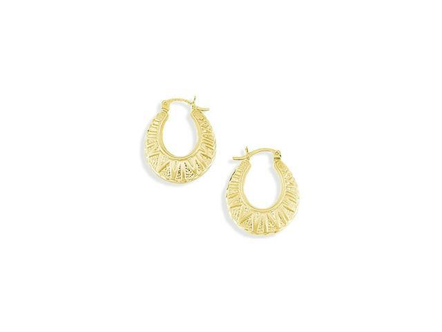 14k Yellow Gold Roman Numerals Puffy Oval Hoop Earrings