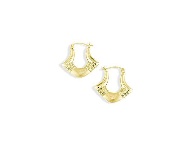 14k Yellow Gold Polished Matte Fashion Hoop Earrings