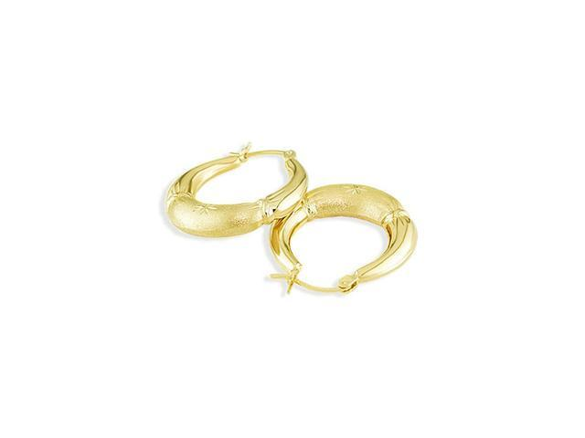 14k Yellow Gold Diamond Cut Matte Puffy Hoop Earrings