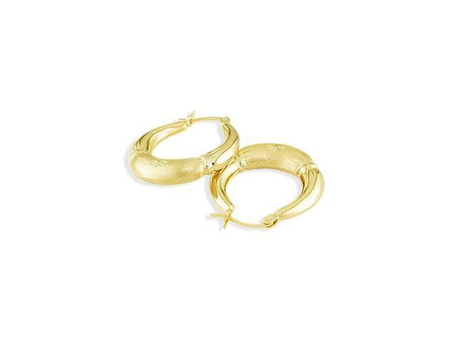 14k Yellow Gold Diamond Cut Matte Puffy Hoop Earrings